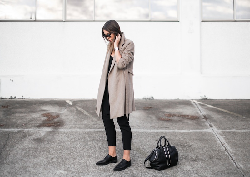 modern legacy blog street style off duty Zara camel long coat Camilla and Marc Zoya Cami Hacker drop crotch pant all black Helmut Lang Benday oxford perforated leather sale Alexander Wang chain bag clean masculine minimalist (12 of 14)