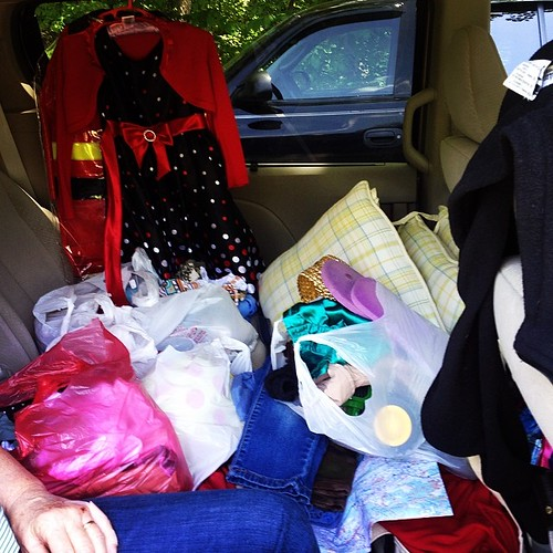 Sisters  + Friday yard sales = a car full of goodies.