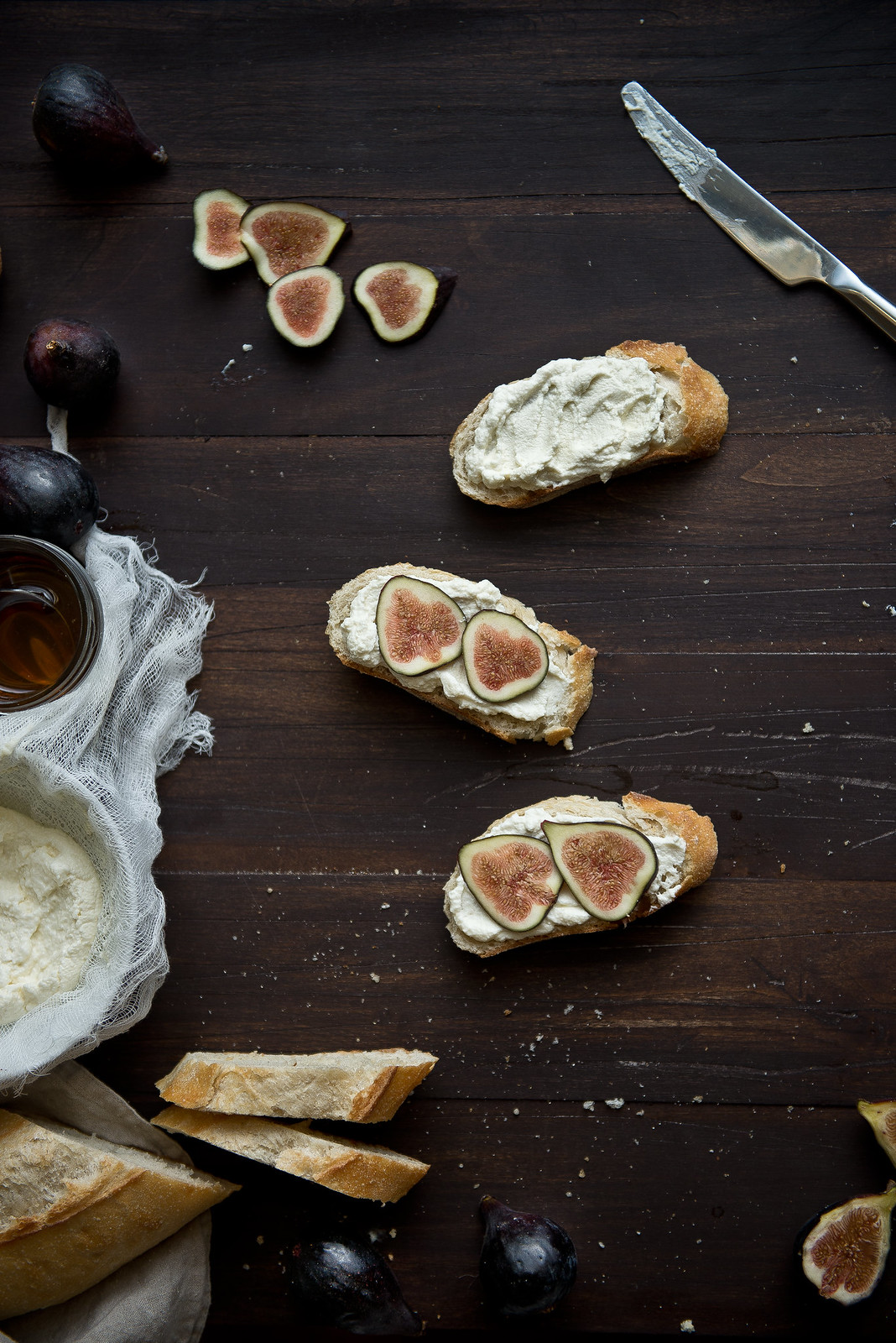 Fig, honey, & ricotta tartines.