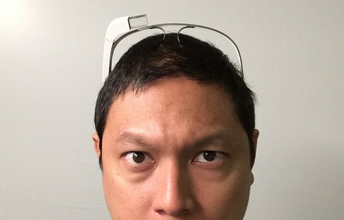 Google Glass on head