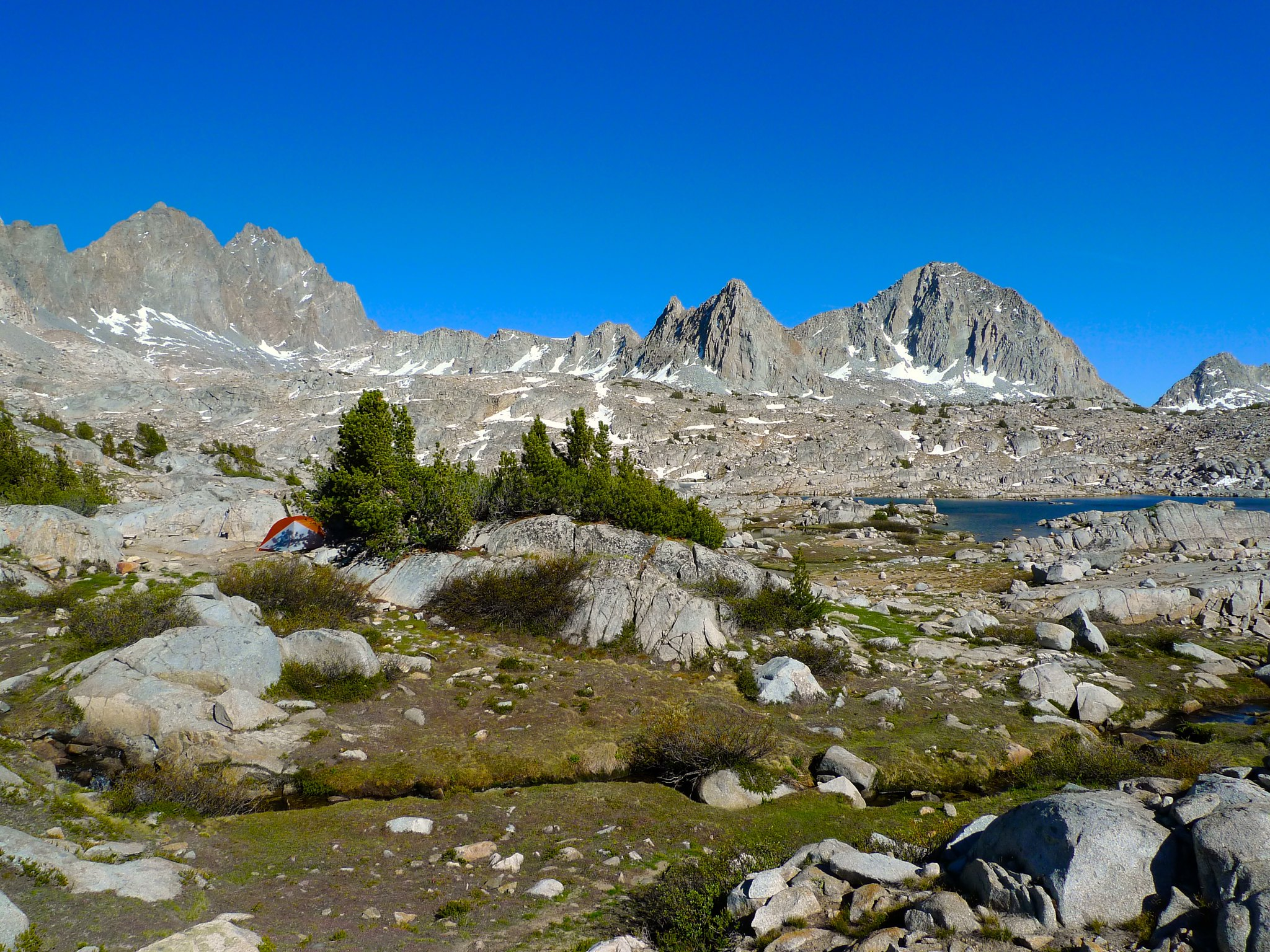 Palisades, Isoceles, and Columbine are a gorgeous backdrop for my camp in upper Dusy Basin