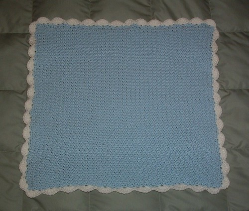 Free Crochet Patterns For Baby Pram Blankets : Moss Stitch Baby Blanket My Recycled Bags.com