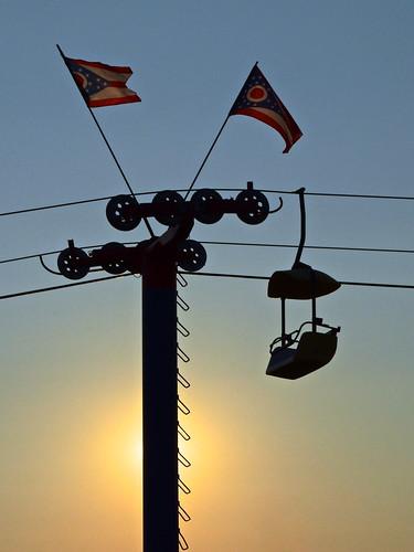 blue light columbus sunset ohio summer sky sun silhouette golden evening state flag fair center pole exposition hour glider skyride 2014
