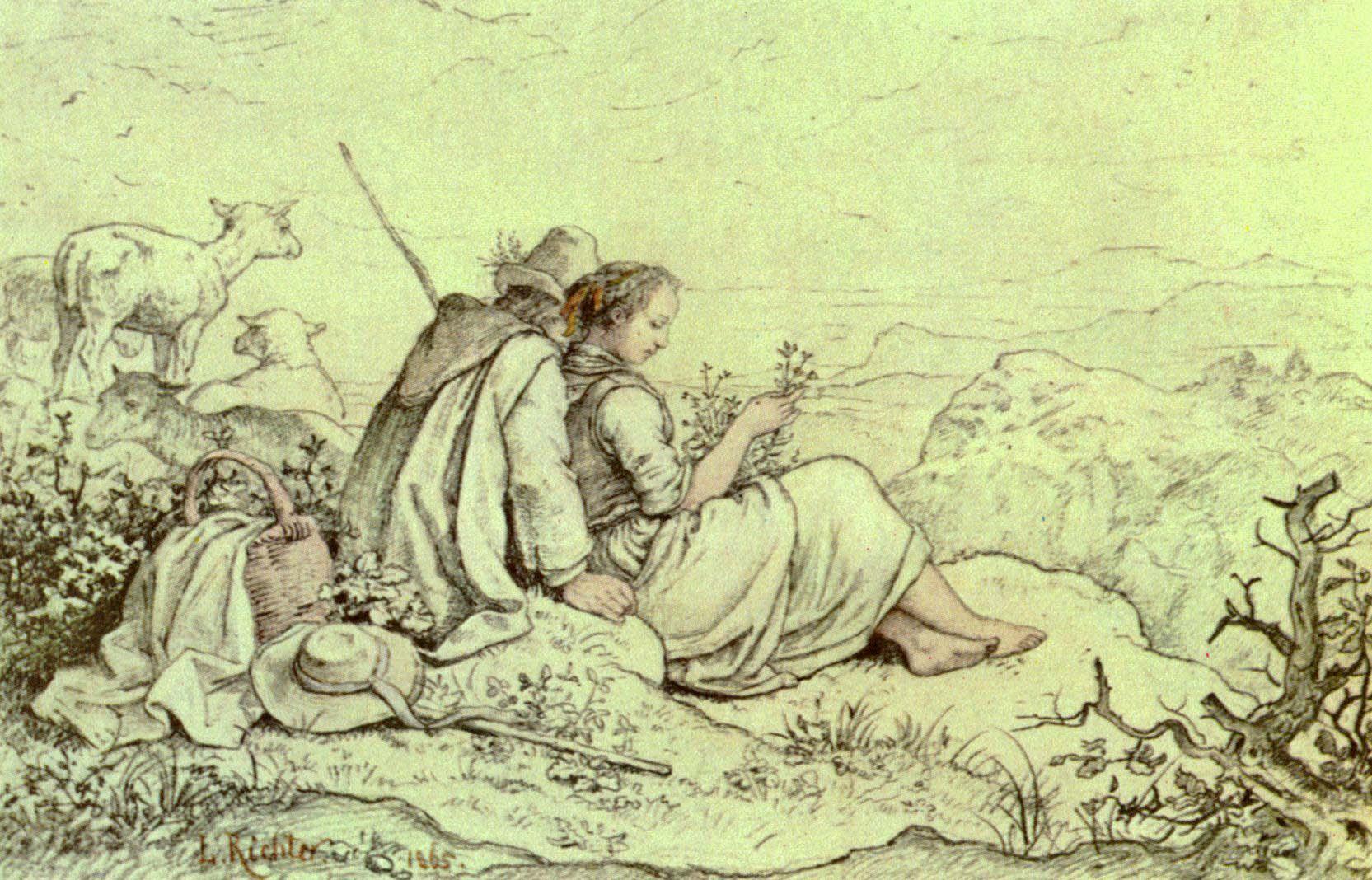 Ludwig Richter, Auf Bergeshöhe, ca. 1840
