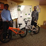 Nigee and Kijuan sporting their genius simple-as-pie DIY tandem bike
