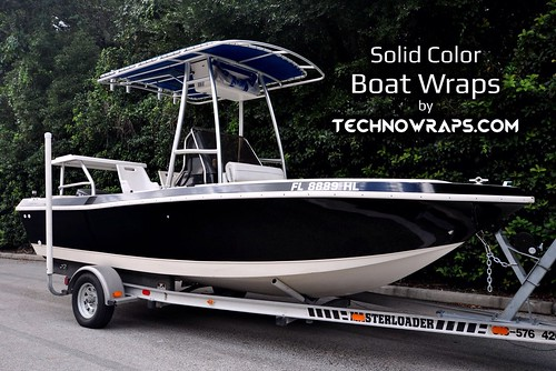 Solid color boat wrap in Orlando, Florida