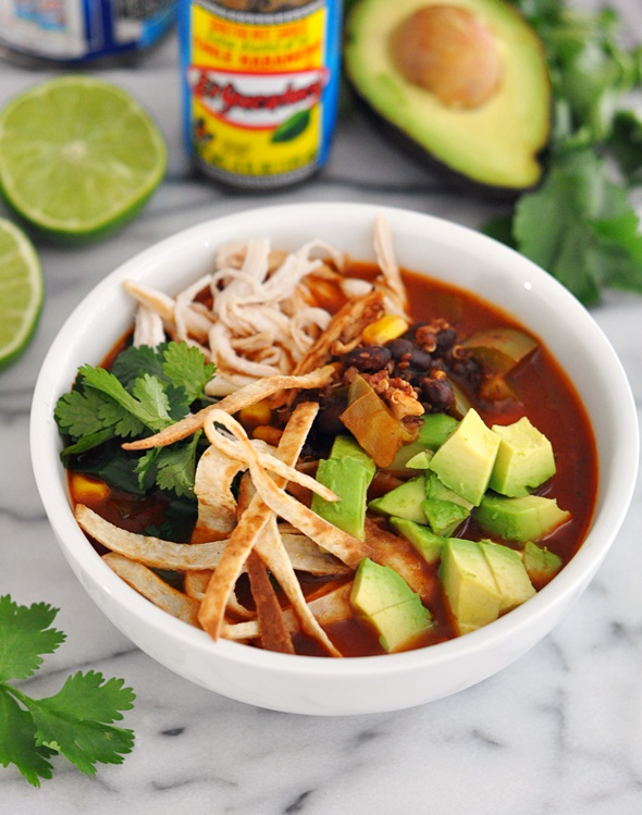 Healthy Chicken & Quinoa Tortilla Soup | www.fussfreecooking.com
