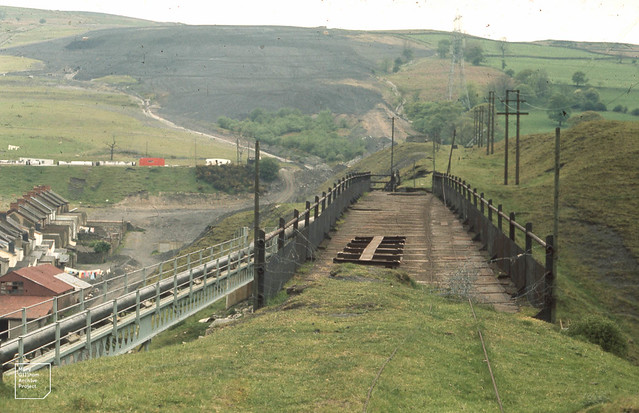 Aberfan fatal tip after levelling  but before vegetating.  May 1971   Old tramway leading down to east of valley