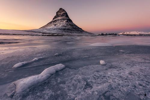 agua iceland waterfall islandia sunset hielo kirkjufell