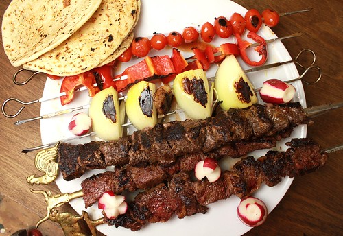 Lebanese-spiced horse-meat kebabs