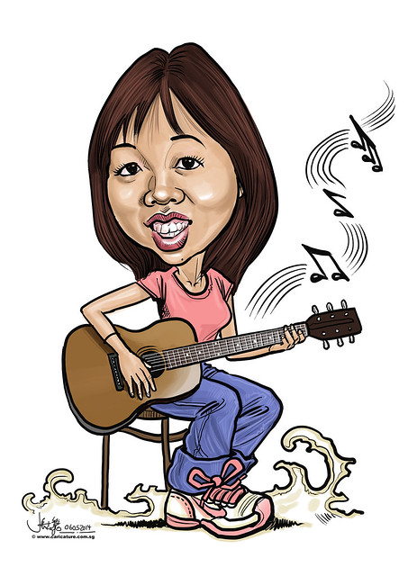 digital guitar caricature for Dow Chemical Pacific