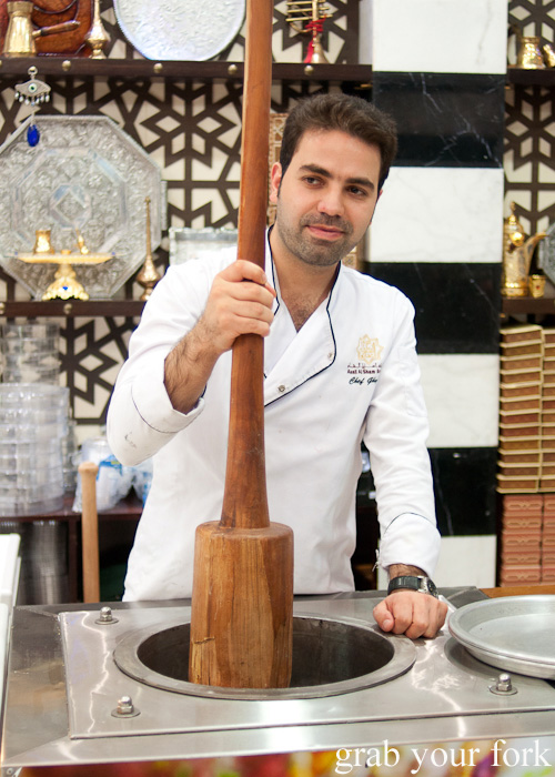 Syrian ice cream maker on a Frying Pan Adventures food tour in Dubai