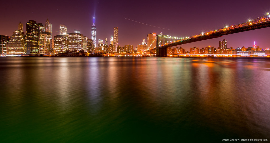 Brooklyn Bridge and Night Manhattan