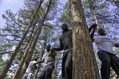 Denver Broncos players visit the Ropes course at USAFA, May 16, 2014