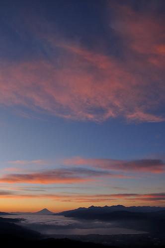 富士山 夜明け 朝焼け 高ボッチ