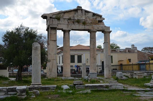 The Gate of Athena Archegetis, the main entrance to the Roman Market, Roman Agora, Athens, Greece