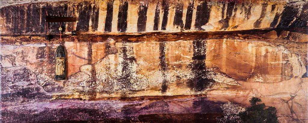 12 x 30 mixed media based on a cliffside found in Natural Bridges State Park, Utah available at The Gallery ABQ (www.thegalleryabq.com) - $445