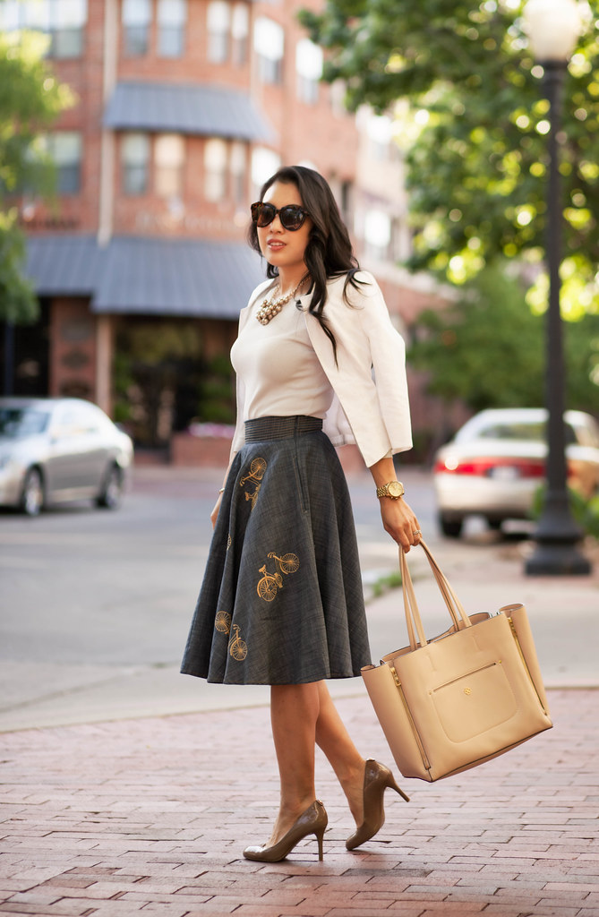 cute & little blog | petite fashion | blue bicycle printed retro skirt, white blazer | spring outfit