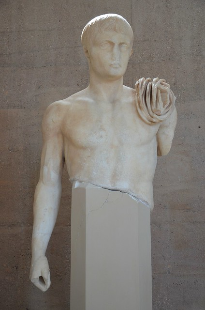 Statue of Lucius Caesar, grandson of Augustus, from the Julian Basilica, 17 BC – 2 AD, Archaeological Museum of Ancient Corinth, Greece