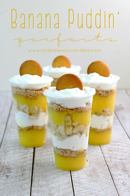 Banana Puddin' Parfaits with vanilla wafers on top.
