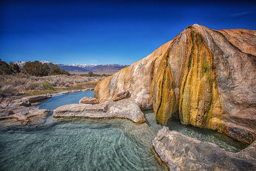 travertine hot springs an early morning shot of