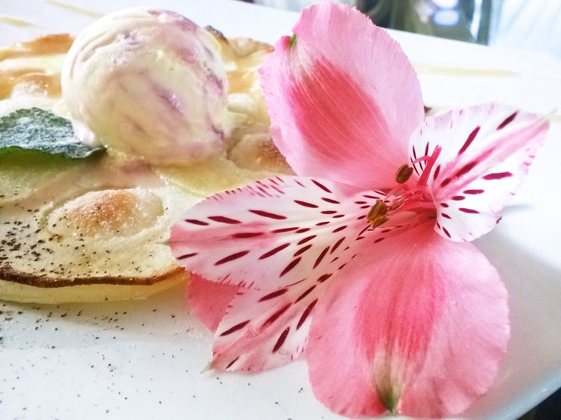dessert with flower