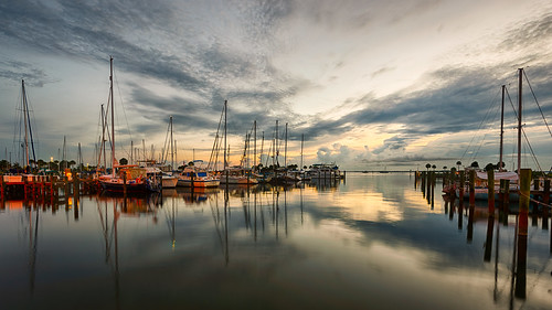 sky usa cloud reflection water sailboat sunrise river landscape dawn boat dock florida cloudy titusville watercraft centralflorida edrosack