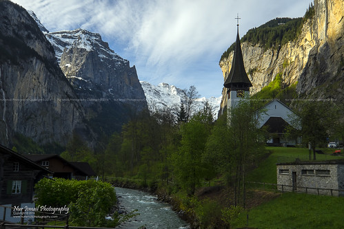 morning snow mountains alps green church sunrise river town spring log cabin swiss waterfalls valley lauterbrunnen nurismailphotography nurismailmohammed nurismail kelanaconvoy
