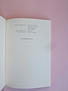 Come finisce il libro, di Alessandro Gazoia (Jumpinschark). minimum fax 2014. Progetto grafico di Riccardo Falcinelli. Colophon generale del volume e della casa editrice: a pag. 211 (part.), 1