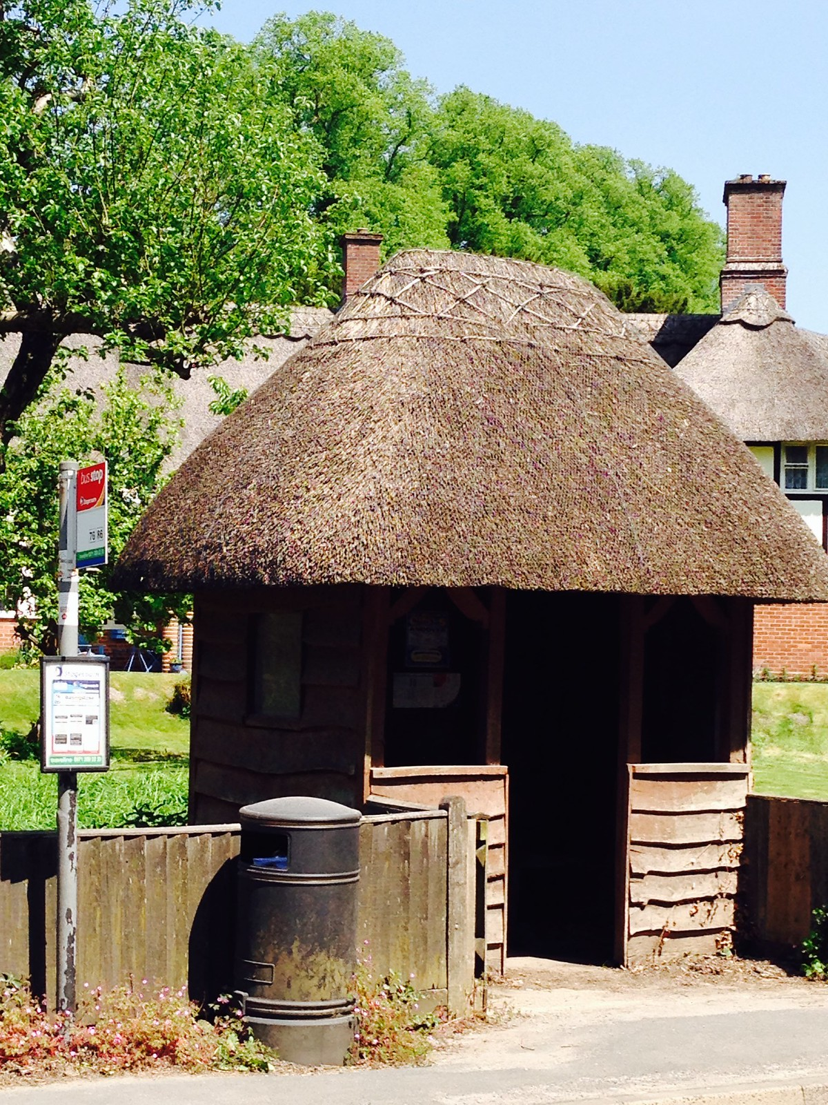 Thatched bus stop, Manor Cottages, Freefolk SWC Walk 53 Overton to Whitchurch