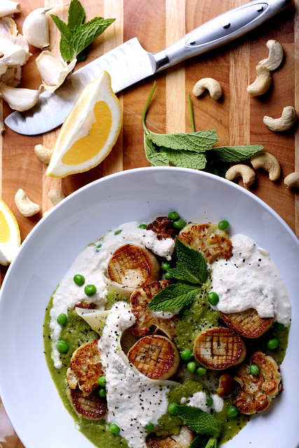 Caramelized Vegan Scallops in Pasta with a Minted Pea Puree