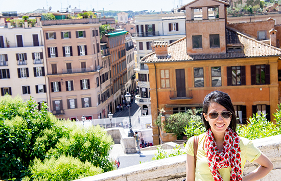 near the top of the Spanish steps