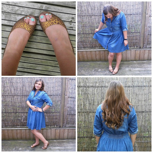 Denim Chambray shirt dress & peep toe flat shoes