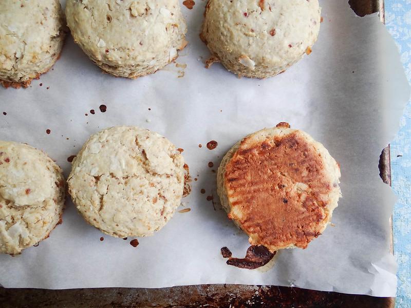 coconut oat scones // maple cinnamon glaze