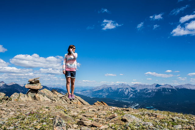 Frances at the top of Whistlers Mountain in Jasper