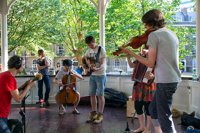 Patch and the Giant at Bandstand Busking at Northampton Square 21st June 2014