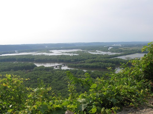 View of confluence of Wisconsin and Mississippi Rivers, Point Lookout, Wyalusing State Park