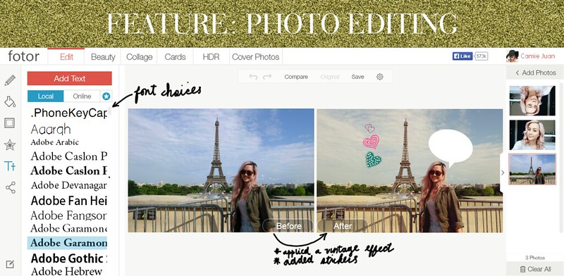 Fotor online photo editing