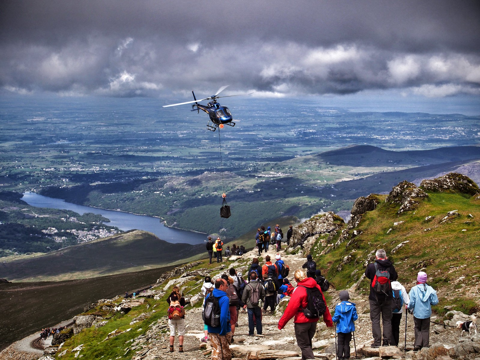Helicopter at the top of Snowdon