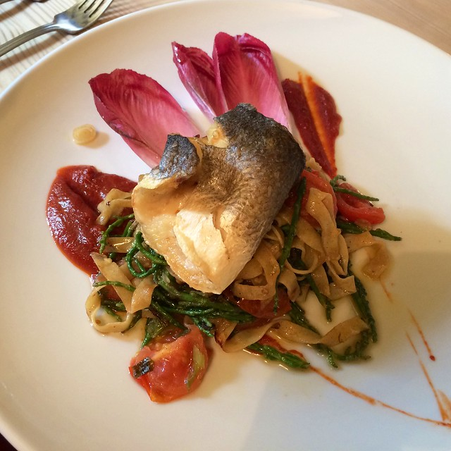 Seabass main course. The Anchor, Sutton, Cambs