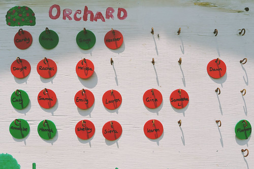 Orchard unit's buddy board tags.