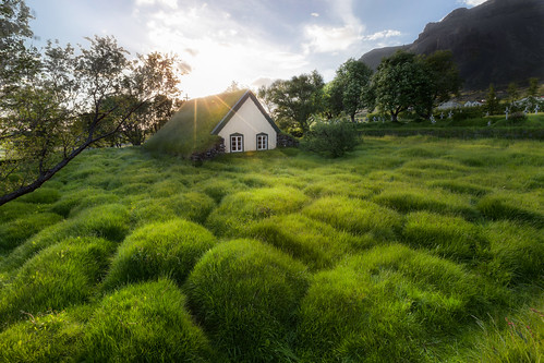 old sunset sunlight church grass landscape iceland flare turf hof islande
