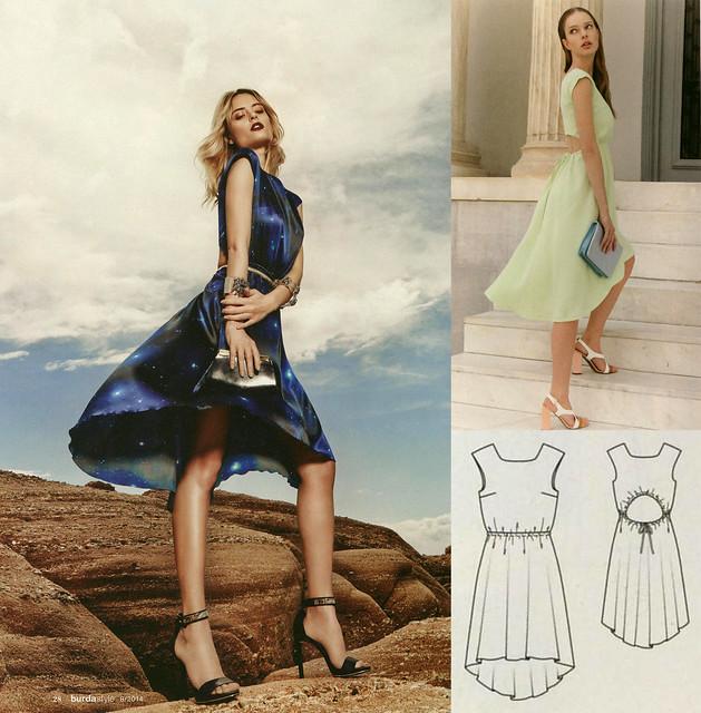 Burda-August-2014 Cutout Back Dress