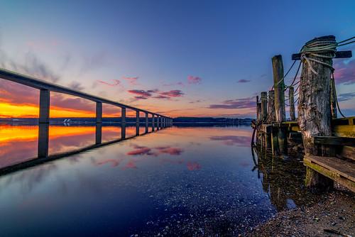 old bridge sunset color water clouds denmark jetty vejle jutland vejlefjord samyang14mm sonya7r bentvelling
