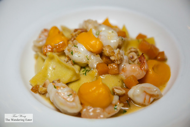 Fagottini di Zucca con Gamberi e Nocciole (Squash Fagottini tossed with Shrimp and Hazelnuts)