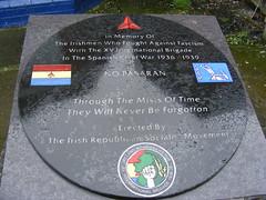 IRSM Spanish Civil War / XV International Brigade Memorial - Costello House Belfast