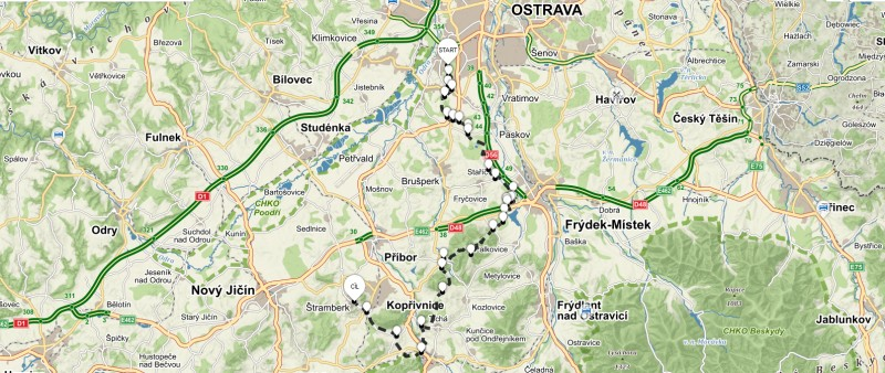 1. trasa z Ostravy dálkový pochod a ultra běh – 53 km (propozice + mapa)