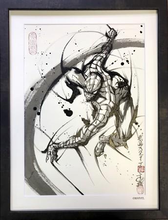 筆墨上的漫威英雄們!《鋼鐵人》、《美國隊長》、《蜘蛛人》 水墨武人畫 in 「こうじょう雅之 武人画展 JAPAN PRIDE」