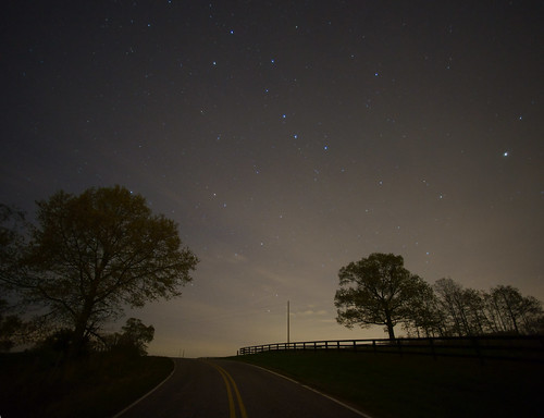 road trees sky night rural stars landscape northcarolina serene bigdipper