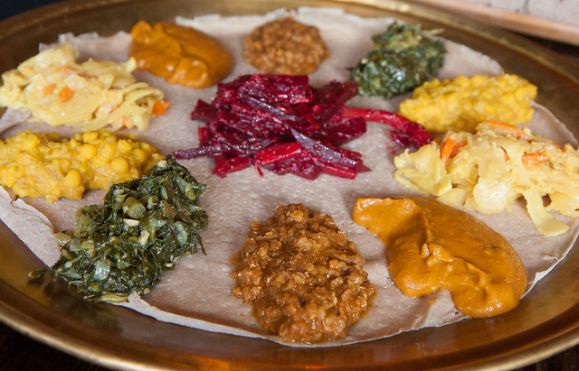 Vegetarian combination, Injera